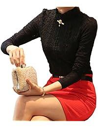 Dayiss® Damenbluse Lace Blusen Spitze langarm Slim Fit Stehkragen mit Futter OL Business