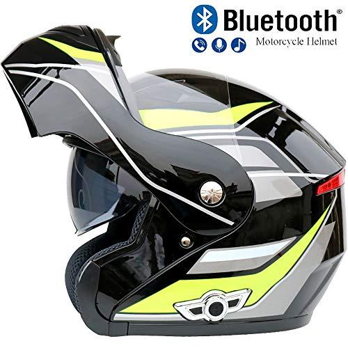 Pn&cc Motorrad Bluetooth Crash Modular Helm, 3000Mah Dual Visier Anti-Fog Helm Eingebauter Lautsprecher Headset Mit Mikrofon Automatische Beantwortung,A,M (Dual-visier Modulare Helm)