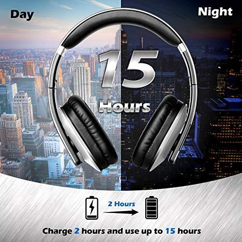 August EP650 Bluetooth v4.2 NFC Kopfhörer mit aptX Low Latency – Kabellose Over-Ear Headphones mit individuellem Sound (silber) - 6