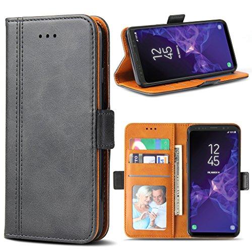 Bozon Galaxy S9 Plus Hülle, Leder Tasche Handyhülle für Samsung Galaxy S9 Plus Schutzhülle Flip Wallet mit Ständer und Kartenfächer/Magnetverschluss (Dunkel-Grau)