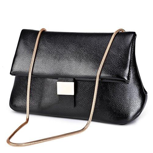 Vbiger Damen Handtasche Damen Umhängetasche PU Ledertasche Schwarze Handtasche Damen Henkeltasche Schwarz 2