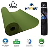 VI FiTKiT Yoga Mat with Free Yoga mat Bag Anti Skid Yoga mat