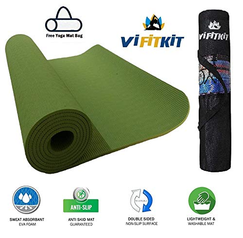 VI FiTKiT Yoga Mat with Free Yoga mat Bag Anti Skid Yoga mat for Gym Workout and Flooring Exercise Long Size Yoga Mat for Men Women (Army Green, 3MM)