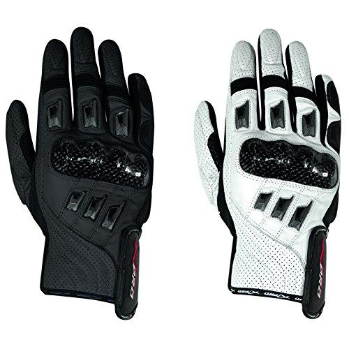 Guanto pelle moto corto protezione carbonio pelle traforata A-Pro Bianco XL