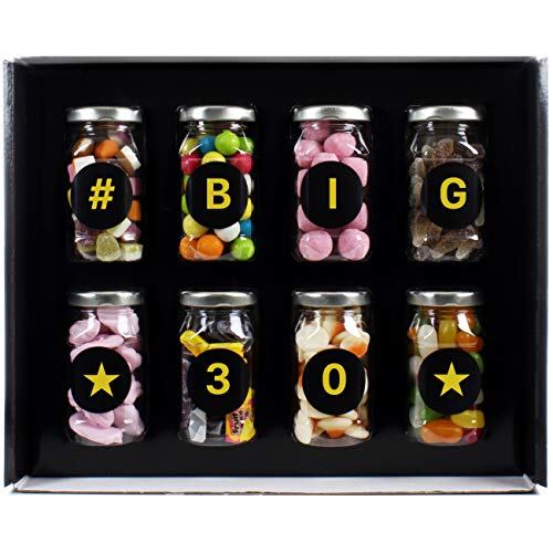 Big 30 Gift - 8 Retro Sweet Jars in Gift Box with 'Big 30' Message