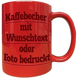 Roter Kaffeebecher Mug Tassen Kaffeepott bedruckt mit Foto Namen oder Wuschtext