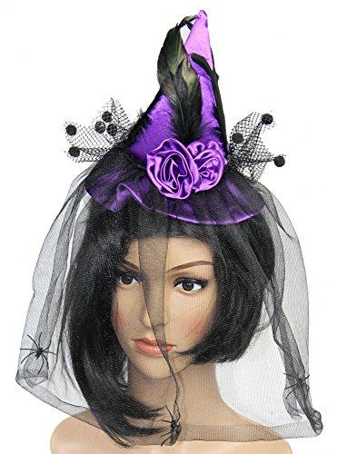 Foxxeo 35089 | lila mini Hexenhut mit Schleier Hexen Hut violett Halloween Walpurgis Horror (Mini Hut Hexen)