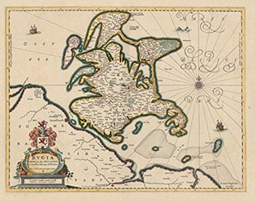 Historische Landkarte: INSEL RÜGEN ANNO 1647- Rugia Insula Ac Ducatus accuratissime descripta ab E. Lubino (Plano)