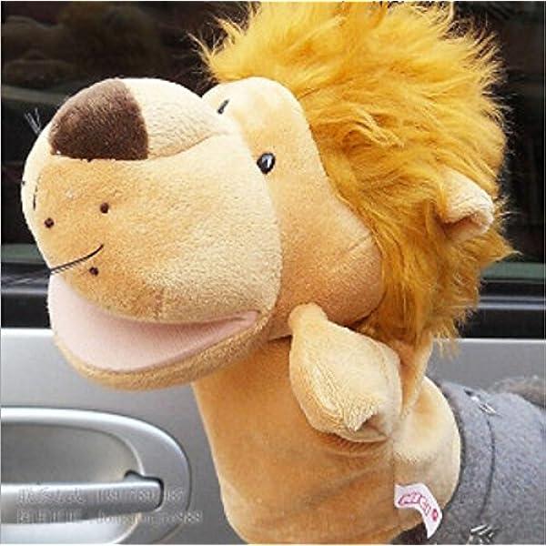 Bigood Kid Plush Velour Hand Puppets Farm Animals Zoo Learning Aid Lion