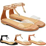 New Womens Ladies Flat Ankle Tie Up Sandals Summer Perspex Gladiator Shoes Size