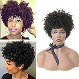 Perruques Courtes Pour Femmes Afro Curl Perruques Cheveux Humain
