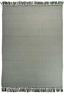 LINUM plaid hERA a94 royaume blanc au vert avec fischgratmuster 130 x 170 cm - 100% coton fin-plaid et couverture baumwollplaid wohntextilien nappe