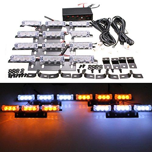 ILS - 36 LED Bulb Amber White Car Pickup Warning Flash Emergency Strobe Light (Strobe Light Pickup)