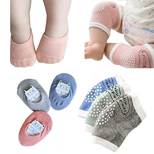 Baby Crawling Anti-Rutsch-Knie und Anti-Rutsch-Baby Jungen Mädchen Socken Bestes Baby Geschenk,Unisex Baby Kleinkinder Knieschoner, weiche Baumwolle Assorted Grip Walkers Socken (grün - blau grau)