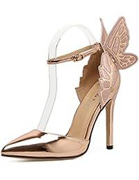 434f48bc52be Xianshu Femmes Chaussures à Talons Hauts Stereoscopic Papillon Sangle de  Cheville Pompes Bout Pointu Aiguille Escarpins