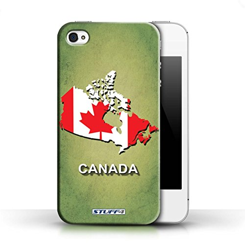 KOBALT® Hülle Case für Apple iPhone 4/4S | Argentinien Entwurf | Flagge Land Kollektion Kanada/Kanadischen
