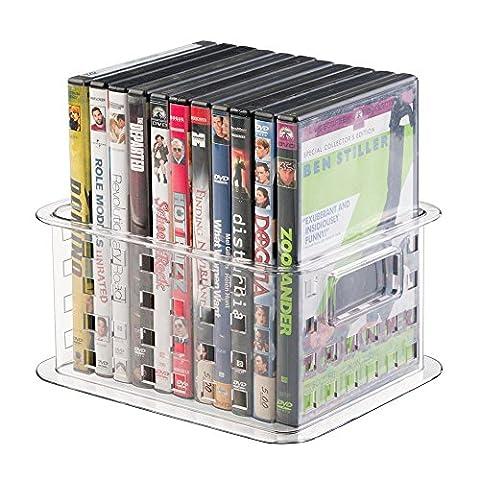 Panier de rangement mDesign empilable for DVD, jeux vidéo et plus encore - Petit, transparent