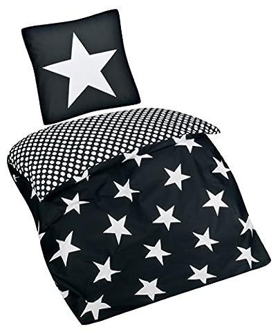 Aminata – Stern Bettwäsche anthrazit 135x200 cm Baumwolle + Reißverschluss Sterne Punkte Anthrazit Schwarz Weiß Bettbezug Sternchen Stars Pünktchen (Französisch Stil Bett)