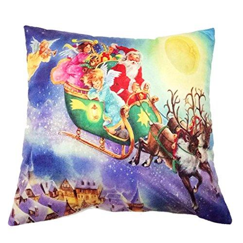 Charberry Père Noël Taie d'oreiller Canapé Taille Throw Housse de coussin, Tissu super doux, D, Size: 45cm*45cm