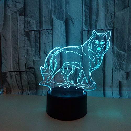 3D Ilusión óptica Lámpara LED Luz Lobo de noche Deco LED Lámpara 7 colores de control remoto con Acrílico Plano & ABS Base & Cargador usb