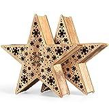 SnowEra 2er Set LED Holzdekoration | Weihnachtsdekoration | Weihnachtsbeleuchtung mit 10 LED´s inkl. Batterien – Lichtfarbe: warm weiß | Form: Stern 3 - 20 cm - FSC 100 %