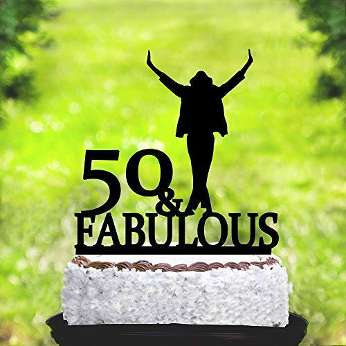 ame Happy Birthday Kuchendekoration, Michael Jackson 50 & Fabulous Cake Topper ()