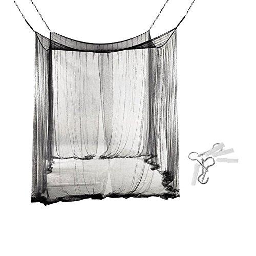 Vier Ecken-Moskito-Filetarbeits-Vorhänge, Überdachung für Bett, quadratischer Insekten-Fliegengitter, Insektenschutz-abweisendes Schild mit vollem hängendem Installationssatz, doppeltes Bett-Hauben-Insektenschutz für reisendes Haus im - 1 Bracket Vorhang
