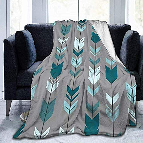Nazi Mie Arrow Feather-Teal Blue Grey Ultraweiche Fleecedecke für Couch Bed Sofa Cinema Travel -