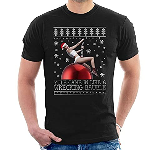 Miley Cyrus Wrecking Ball Christmas Knit Men's T-Shirt