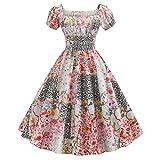 Sonojie Damen Vintage 1950er Retro Kurzarm Print Abend Party Kleid Prom Swing Kleid