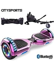 CITYSPORTS Hoverboard 6.5 Pulgadas + Hoverkart, Self Balance Scooter Patinete Eléctrico, Ruedas de Led