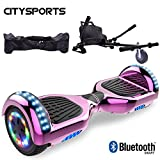 CITYSPORTS Hoverboard 6.5 Pouces + Hoverkart, Self Balance Scotter Electrique, Roues LED Light, Bluetooth, Moteur 700W