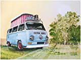 Rot Hot Lemon 300 x 410 mm Weißblech/Metall Volkswagen Aquarell Camper Pop Up Mauer Zeichen, blau