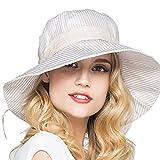 Damen Sommer Strand Hat Gestreifte Sonnenhut Eimer Hut Fedorahüte großer Rand-Anti-UV Sonnenhut Faltbarer Sonnenhut (Khaki)