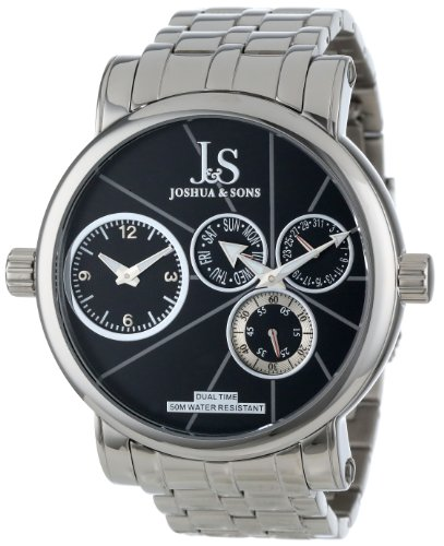 Joshua & Sons Men's JS-35-BK Dual Time Multi-Function Quartz Stainless Steel Bracelet Watch