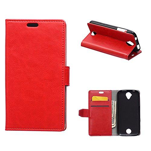 MOONCASE Liquid Z320 Z330 Hülle, Ledertasche Brieftasche mit Standfunktion und Karte Halter Tasche Magnetisch Leder Schutzhülle für Acer Liquid Z320 Z330 Rot