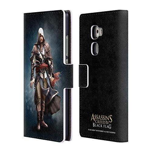 Head Case Designs Offizielle Assassin's Creed Edward Kenway Schwarze Fahne Darsteller Brieftasche Handyhülle aus Leder für Huawei Mate S