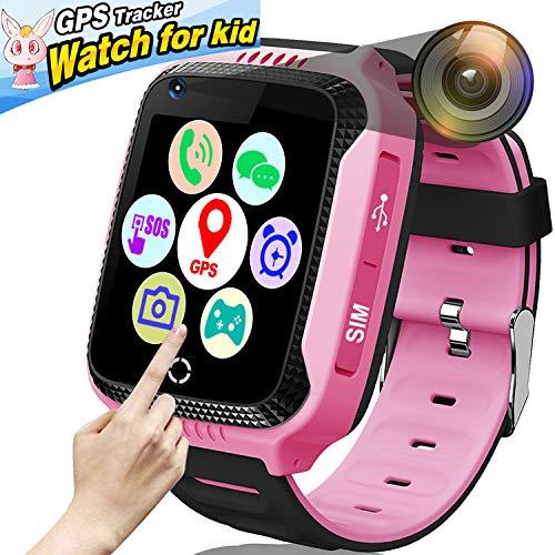 18a5b8c54 ONMet - Reloj inteligente con cámara para niños, con rastreador GPS,  linterna, juego