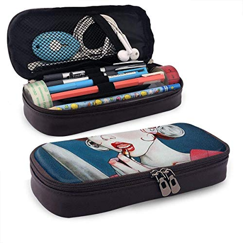 Knife Mirror Gothic Girl Make Up Pencil Case Pouch Large Capacity Pen Bag Double Zippers Multifunction Makeup Bag Stationery Bag Cosmetic Bag with Compartments -