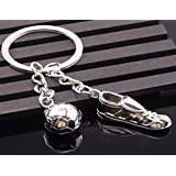 Sportigo ® Fußball Schlüsselanhänger Fußballschuh mit Ball / Fußballer Geschenk / Fan Geschenk