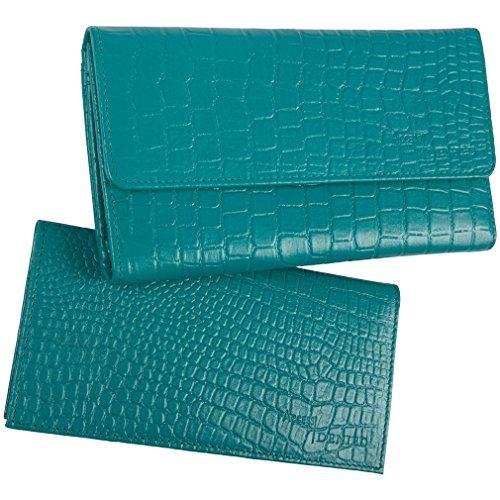 Access Denied Portafoglio in pelle morbida da donna libretto di assegni RFID Blocco (Coccodrillo Verde Acqua)