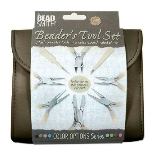 BEADSMITH 8 FASHION-CHOCOLATE COLOR TOOL SET FOR MAKING JEWELRY with COORDINATED CLUTCH CARRY CASE