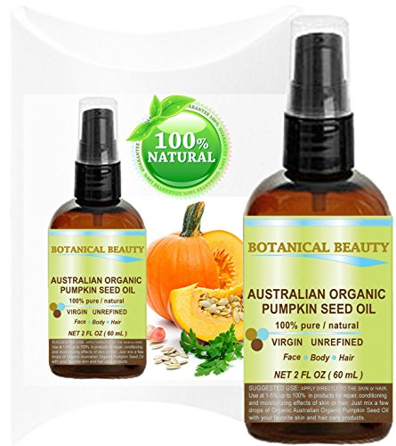 ORGANIC PUMPKIN SEED OIL Australian. 100% Pure / Natural / Undiluted /Unrefined Cold Pressed Carrier Oil. 2 Fl.oz.- 60 ml. For Skin, Hair, Lip And Nail Care. \