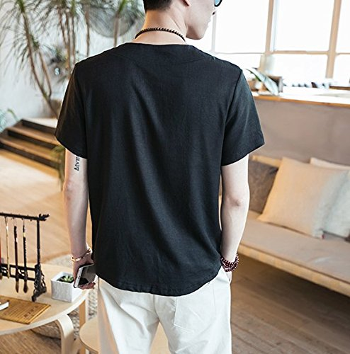Honghu Herren Short Sleeve Drucken T-shirt Schwarz
