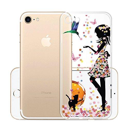 Per iPhone8(2017) Custodia ,Per iPhone7(2016) Custodia ,ZXLZKQ Rosa Gatto Ragazza Trasparente Morbido TPU Silicone Coperchio Skin Cover Bumper Protezione Case iPhone8(2017) / iPhone7(2016) WM49