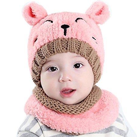 QHGstore Baby-Hut-weiche reizende Katze-lächelndes Gesicht gestrickte Earflap Hauben-Schals Schädel-Kappen-Schal-zwei Stück-Sätze für Kleinkind-Jungen-Mädchen-Kinder Rosa