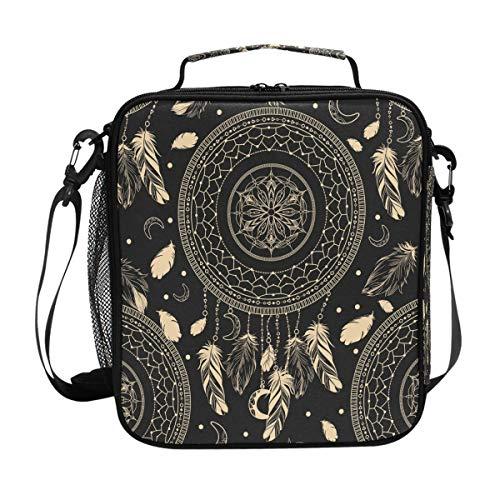 Hunihuni Tribal étnico boho atrapasueños caja de almuerzo aislada bolsa de bolso a prueba de fugas caja Bento con correa de hombro ajustable para adultos y niños