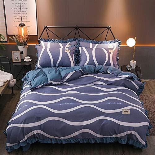 UOUL Bettwäscheset Baumwolle Grau 4 Stück Verblasst Nicht Komfort Einfache Streifen Jugend Jahreszeiten Schlafzimmer Voll \ Königin,Navy,Full\Queen