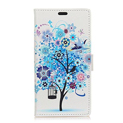 Sunrive Hülle Für BQ Aquaris C, Magnetisch Schaltfläche Ledertasche Schutzhülle Case Handyhülle Schalen Handy Tasche Lederhülle(Muster Blue Tree)+Gratis Universal Eingabestift