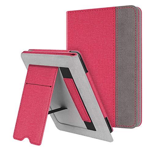 Fintie Hülle kompatibel für Kindle Paperwhite (10. Generation - 2018 / alle Generationen) - Kickstand Schutzhülle mit Kartenfach Handschlaufe & Auto Sleep/Wake Funktion, Jeansoptik Rot